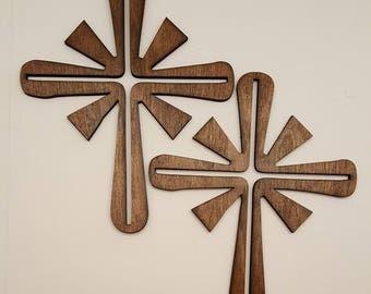 angel laser cut wood cross