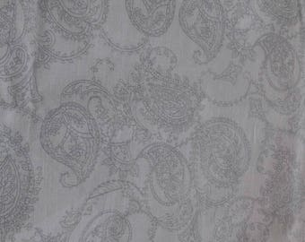 Grey Paisley Polycotton Fabric Baggy Trousers