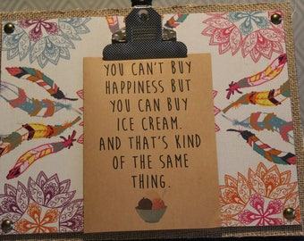 ClemmieLouCards -You can't buy happiness BUT you can buy ice cream- greeting card