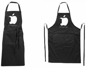 Full modern black apron, i Woman-for him-two pockets-quality printed-BBQ-for gift-father day-mother day-Birthday