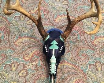 Authentic Handpainted Deer Skull