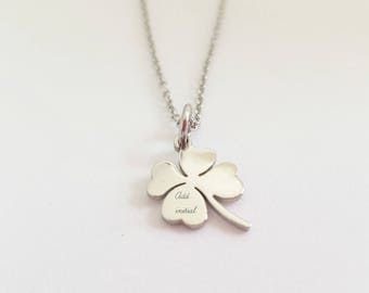 Four leaf clover necklace, Stainless steel jewelry, Hand stamped necklace, Women's steel jewellery, Initial Necklace, Personalised gift