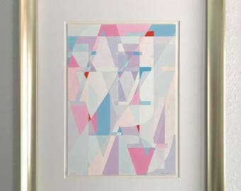 """Purple Abstract Painting - 'Abstract Bodoni' Original Gouache Painting on Paper, Matted, 16""""x20, Unframed"""