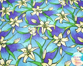 Rejoice Heavenly Sky Stained Glass Easter Lilies Cotton Fabric