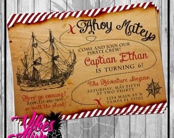 Treasure Map Pirate Party Invitation