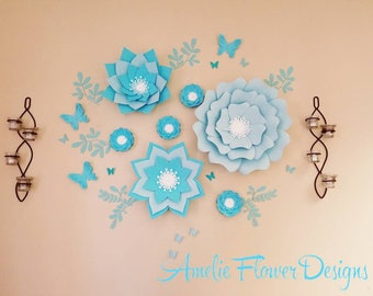 Blue Nursery large flowers wall, Baby shower paper flowers backdrop, Large Paper flowers blue, Paper flowers wall decor, Nursery big flower.