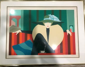 Lady of the Striped Sofa by Amleto Dalla Costa, signed and numbered lithograph