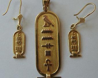 Vintage Egyptian Pendant & Earrings set