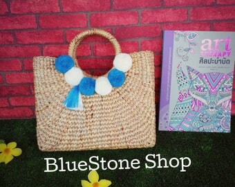 Straw beach bag with blue pom pom/ straw bag Ready to ship