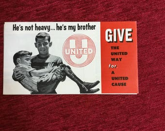 United Way He's Not Heavy...He's My Brother Leaflet Health Welfare Philadelphia Charity Causes