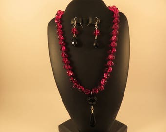 Red and Black Necklace and Earrings