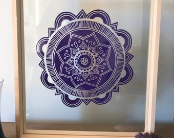 Wooden Glass Frame with Purple Mandala 25 x 30cm