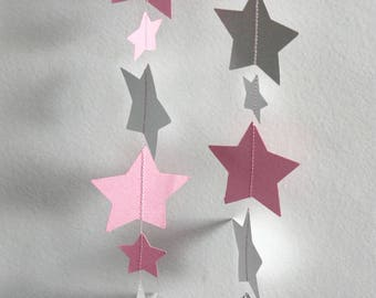 Silver Star paper Garland, and pink stars