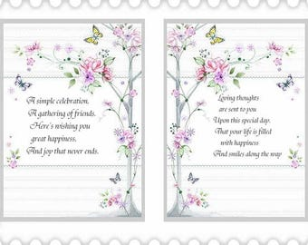 Assorted  Cafe and Butterfly Birthday card inserts with verse