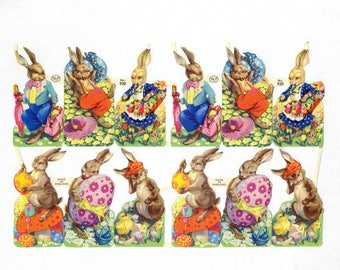 Antique Embossed Chromolithograph English Die Cut Easter Bunny Scrap