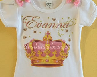 Pink Princess Crown Shirt, personalized shirt, girls shirt, birthday shirt, baby shower gift, take home baby