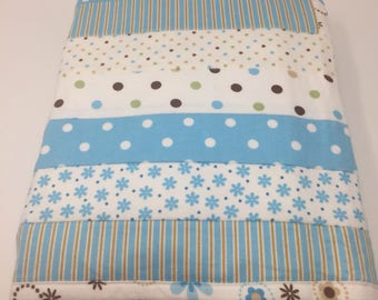 """Robert Kaufman Cozy Cotton flannel in Aqua, shades of blue, baby quilt, 100% soft double-napped cotton. 33""""x47"""""""