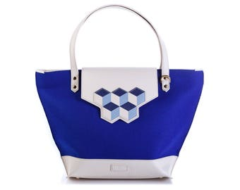 Navy blue felt and leather tote bag with cubic interchangeable flap