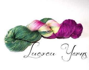 "Hand-dyed sock yarn 4 x 100 g ""Pansy"""