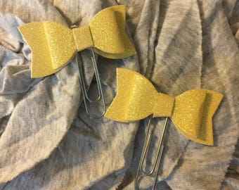 Yellow Glitter Bow Planner Marker Clip set of 2.