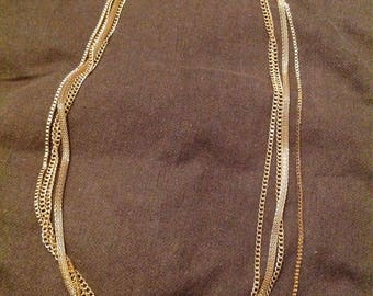Gold multiple chain necklace