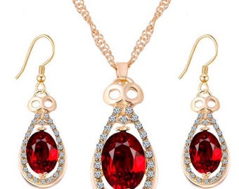 Charming red pendant jewelry set