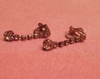 Vintage Rhinestone Dangling Earrings Clip On 1950's