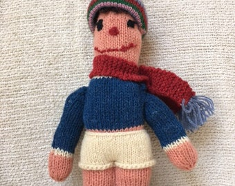 Hand Knit Folk Art Doll 1950's
