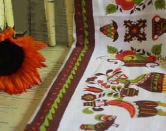 Vintage Pennsylvania Dutch Table Cloth, Amish Tablecloth, German Folk Art,  Square Table Linen