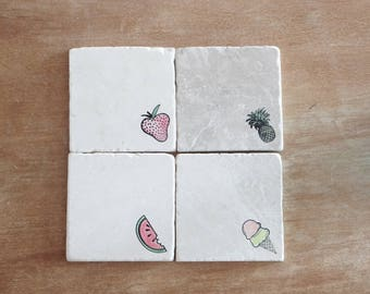 Summertime Coaster// Fruit Coaster// Hand painted Coasters// Stamped Tumbled Marble Coasters- set of 4