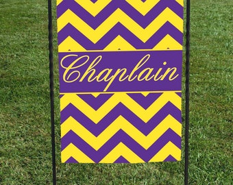 "Personalized Garden Flag, Purpland Gold Chevron , Name in Center in Yellow, Show off your school colors, great for housewarming 12""x18"""