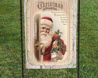 "Santa Christmas Garden Flag, Vintage Postcard, Christmas Yard Art, 12""x18"", Christmas decor, Santa in red with toy bag"