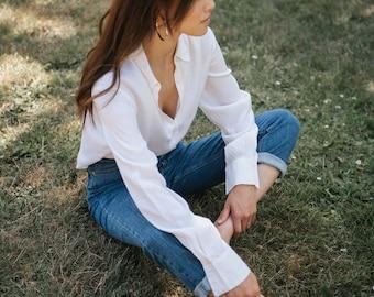 ROBBIE BEE 100% Silk Light-Weight Ivory Blouse XS S M