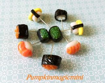 Handmade Sushi Tamago Egg Salmon Fish roe earrings, food jewelry, fake food, japanese food