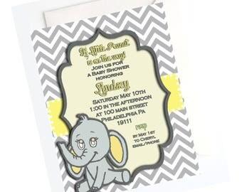 ELEPHANT INVITATION- Little Peanut Elephant Baby Shower Invitation