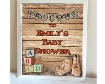 Rustic ABC Blocks Baby Shower Welcome Sign
