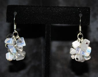Moonstone, Quartz, and Opalite Cluster Drop Earrings