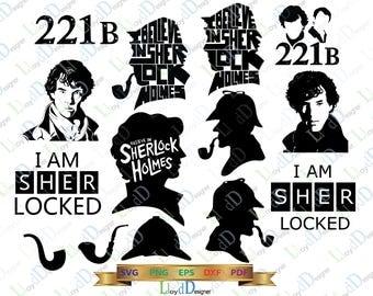 Sherlock SVG Sherlock shirt Sherlock Holmes Pipe Gift Sherlock clipart Sherlock Silhouette Sher locked svg png dxf eps cut File Cameo Cricut