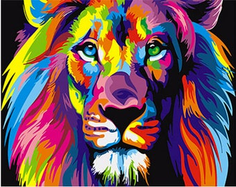Frameless Colorful Lion Animals Abstract Painting /Diy Digital Painting - Wall Art Picture For Home Wall -Artwork