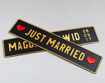 Wedding plate wedding plates wedding gift personalized license plate vintage