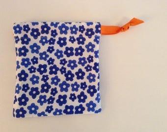 Small - Lined Drawstring Bag - Blue