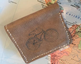 Handmade leather bi fold bicycle wallet