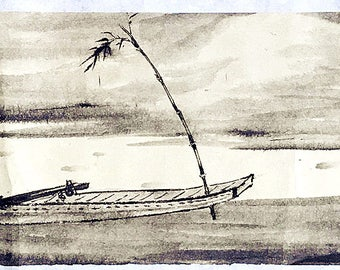 Traditional Chinese landscaping painting with a figure and boat