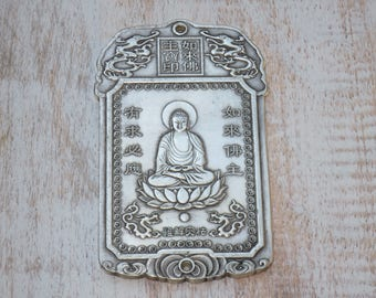 Rare Extra Large Silver Sitting Buddha Pendant or Connector, Sitting Buddha