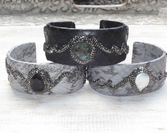 Boho Chic Pave Cz Crystals with Pearl Labradorite or Black Onyx Leather Snakeskin Cuff Bracelet