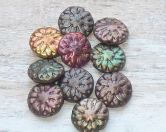 14mm Czech Glass Dahlia Beads Metallic Mix  (6pcs) - Czech Glass Beads-Flower Beads