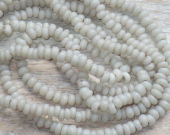 Vintage Old Opaque White Seed Bead Strand 3mm Beads