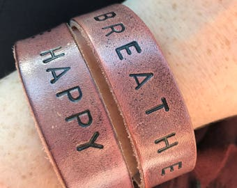 Custom Leather Stamped Bracelets