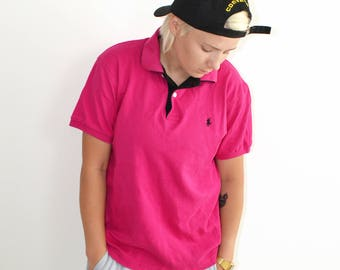 POLO Ralph Lauren branded 90s polo shirts | Vintage pink sport t-shirts | M