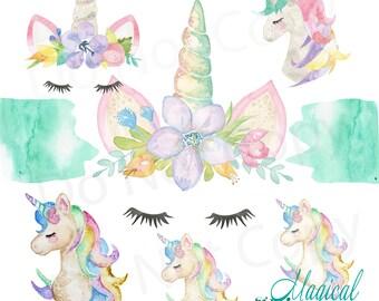 Magical Unicorn Clip art Set - 6 PNG Images